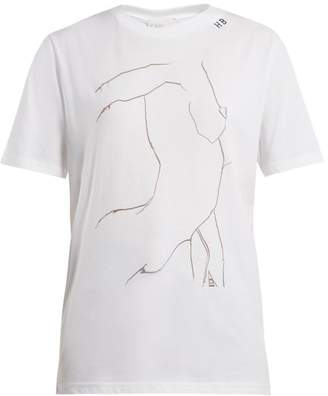 Hillier Bartley - Line Drawing Print Cotton T Shirt - Womens - White Black