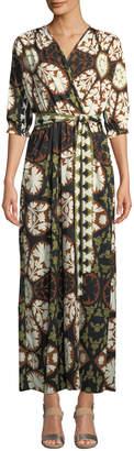 Melissa Masse Pine Mandala Printed Wrap Maxi Dress