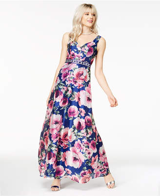 Trixxi Juniors' Embellished Printed Gown