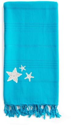 Linum Home Textiles Summer Fun Glittery Starfish Pestemal Beach Towel