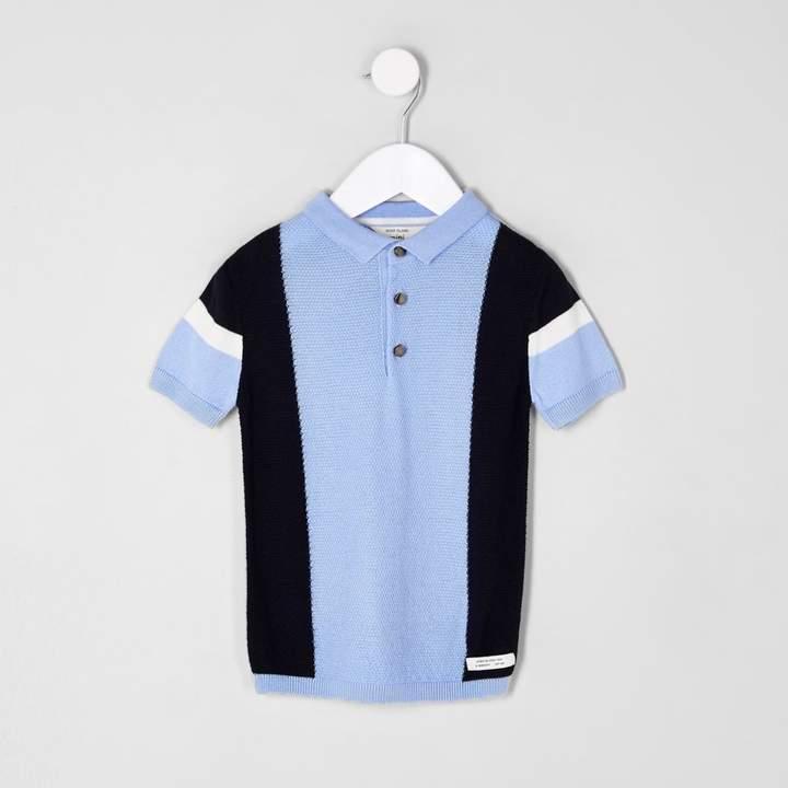 Mini boys Blue blocked knitted polo shirt