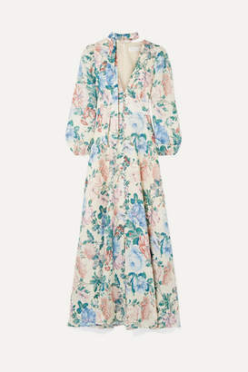 Zimmermann Verity Floral-print Linen Maxi Dress - Sky blue