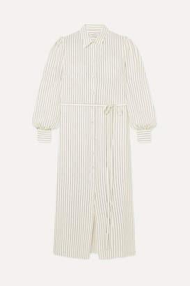 Co Striped Silk Shirt Dress - Ivory
