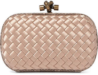 7b276942af Bottega Veneta The Mini Knot Watersnake-trimmed Intrecciato Satin Clutch -  Blush