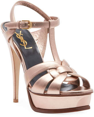 Saint Laurent Tribute Metallic Leather Platform Sandal