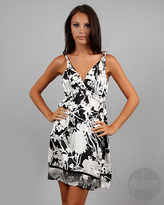 Hale Bob Inverted Floral Twist-Strap Dress