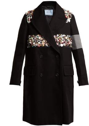 Embellished double-breasted cotton-drill coat