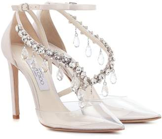 Jimmy Choo X Off-White Victoria 100 embellished satin pumps