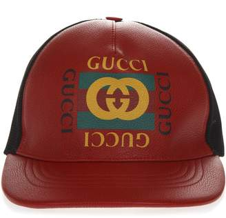 Gucci Red And Black Baseball Leather And Mesh Hat With Logo