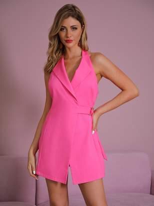 Shein Double Crazy Solid Wrap Belted Halter Blazer Dress