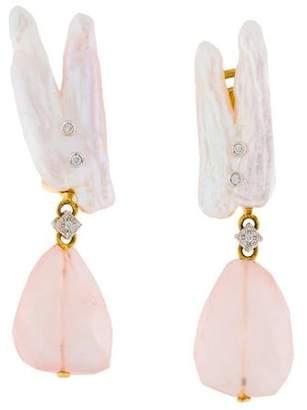 18K Pearl, Diamond & Rose Quartz Drop Earrings