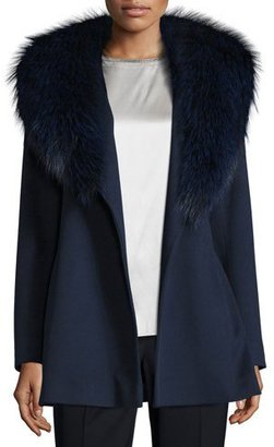 Fleurette Short Wool Wrap Coat w/ Fox Fur, Midnight $1,735 thestylecure.com