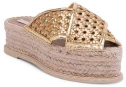 Stella McCartney Gold Wicker Flatform Slides