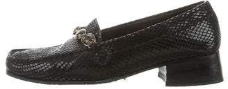 Stuart Weitzman Leather Embossed Loafers