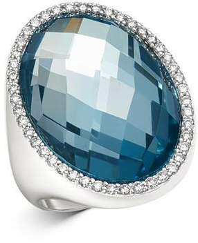 Roberto Coin 18K White Gold Blue Topaz Doublet Cocktail Ring with Diamonds