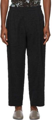 Issey Miyake Black Ramie Shrink Wide-Leg Trousers