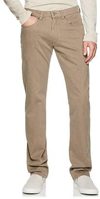 Piattelli MEN'S COTTON TWILL FLAT-FRONT TROUSERS