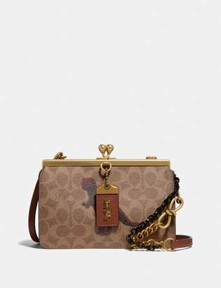 Coach Double Frame Bag 19 In Signature Canvas With Rexy By Sui Jianguo