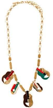 Oscar de la Renta Enamel Guitar Collar Necklace