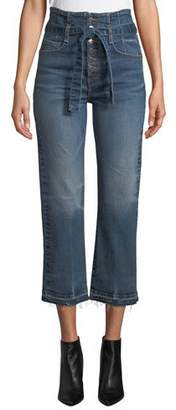 "Veronica Beard Marlene 12"" Rise Corset Straight-Leg Cropped Jeans"