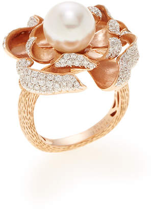 Tara Pearls Women's White South Sea Pearl & Pave Diamond Ring