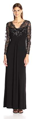 Marina Women's Long Jersey Gown with Scallop Lace Bodice $28.62 thestylecure.com