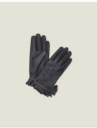 Sandro Leather Gloves With Studs And Fringing