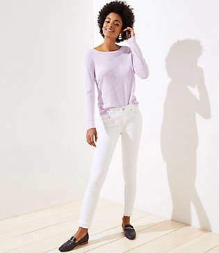 053238986495 LOFT Petite Modern Double Frayed Slim Pocket Skinny Jeans in White