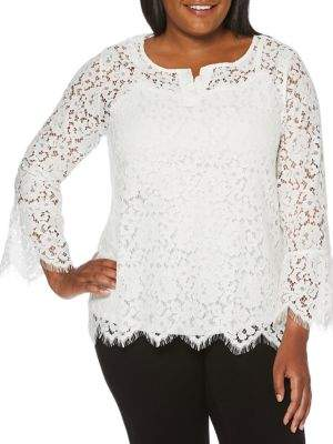 Rafaella Plus Lace Split Neck Top