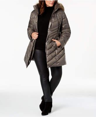 Laundry by Shelli Segal Plus Size Faux-Fur-Trim Hooded Puffer Coat