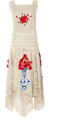 Oscar de la Renta Embroidered Crochet Linen Dress