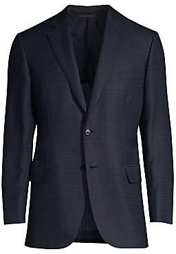 Brioni Men's Virgin Wool & Silk Check Suit Jacket