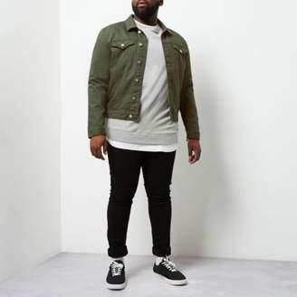 River Island Mens Big and Tall dark green denim jacket