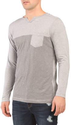 Twisted Yarn Pieced Long Sleeve Top