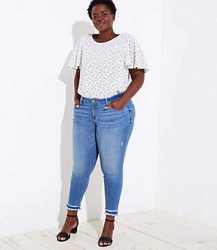 73e925578ca3c LOFT Plus Double Fray Cuff Skinny Jeans in Bright Mid Indigo Wash