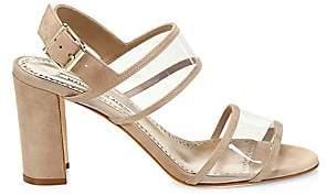 Manolo Blahnik Women's Khanc PVC & Suede Slingback Sandals