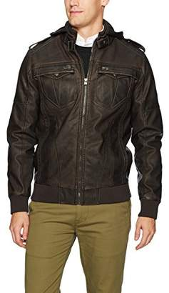 X-Ray Men's Slim Fit Over Washed Faux Leather Bomber Jacket
