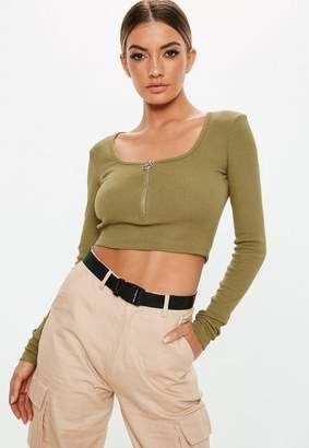 Missguided Khaki Zip Front Long Sleeve Crop Top