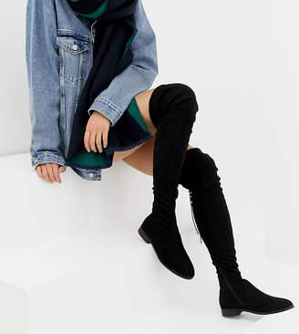 e3e872ea6cc Asos Design DESIGN Slim Kaska flat studded thigh high boots