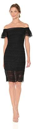 Bebe Women's Missy Lace Off-The Shoulder Dress with Ruffle Sleeve