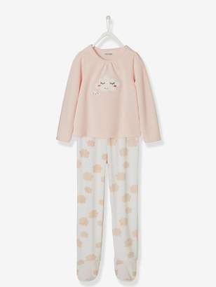 Vertbaudet Footed Velour Pyjamas for Girls