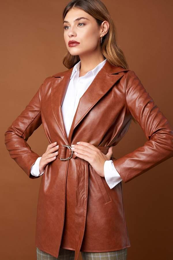 PU Leather Belted Jacket Burned Brown