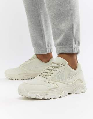 Asos DESIGN Sneakers In Tonal Off White With Chunky Sole