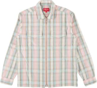 Supreme Plaid Flannel Zip Up Shirt - 'FW 17' - Pink
