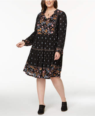 Style&Co. Style & Co Plus Size Mixed-Print Peasant Dress, Created for Macy's