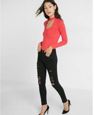 Express plunging mock neck choker top $29.90 thestylecure.com