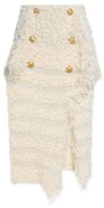 Balmain Asymmetric Knitted Midi Skirt
