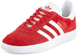 Adidas Gazelle Original Suede Sneaker, Scarlet/White $80 thestylecure.com