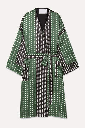ASCENO - Polka-dot Silk-satin Robe - Army green
