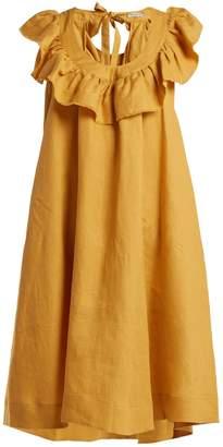 THREE GRACES LONDON Faye tie-back linen dress